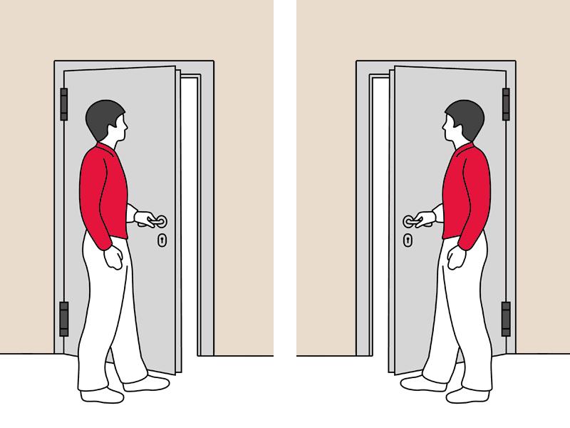 Определение стороны открывания двери