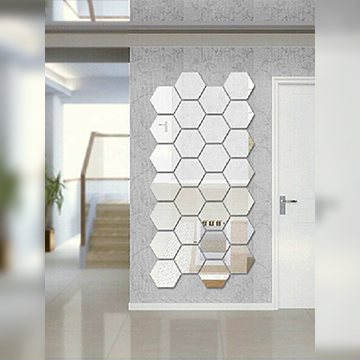 Зеркальная наклейка шестигранная