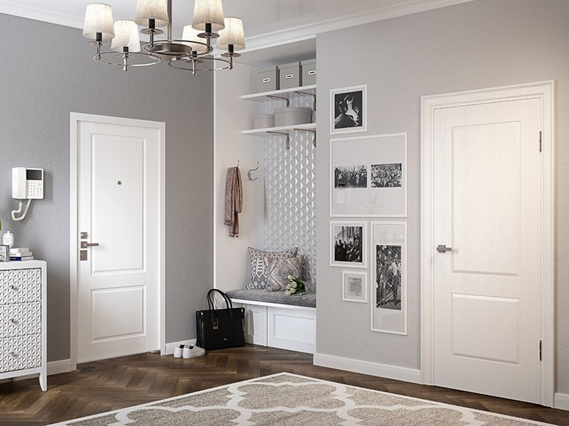 Белая дверь в светлый интерьер прихожей