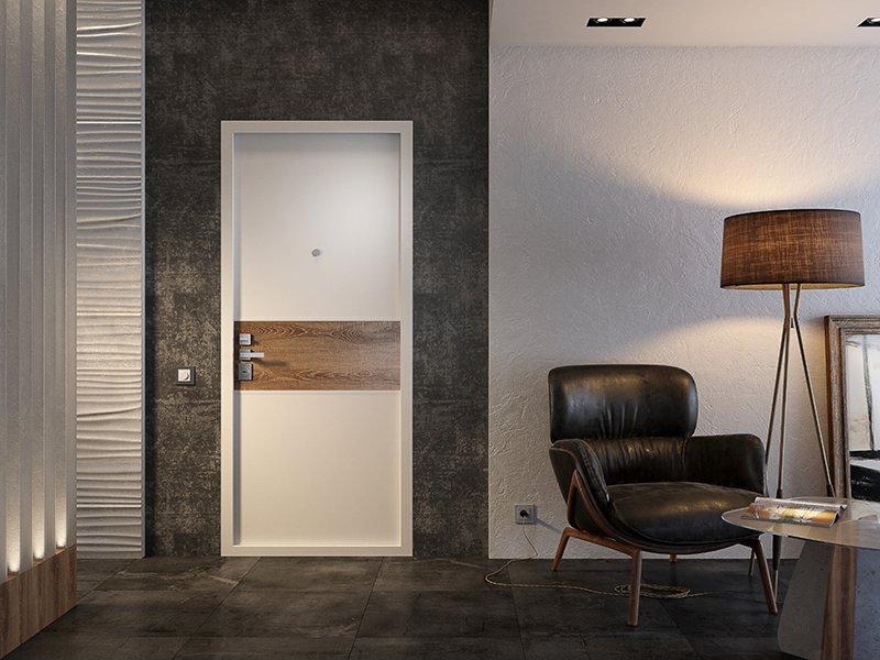 Белая дверь на темной стене