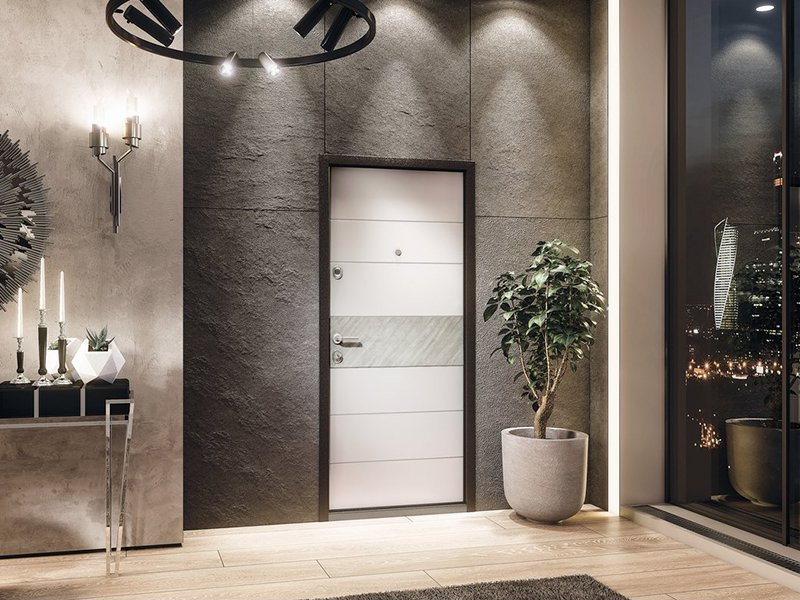 Белая дверь с бетоном на бетонной стене