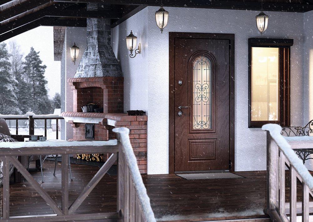 Уличная дверь с влагостойкой панелью Snegir Cottage