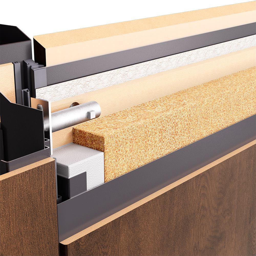 Пять слоев тепло-шумоизоляционных материалов уличной двери Snegir 45