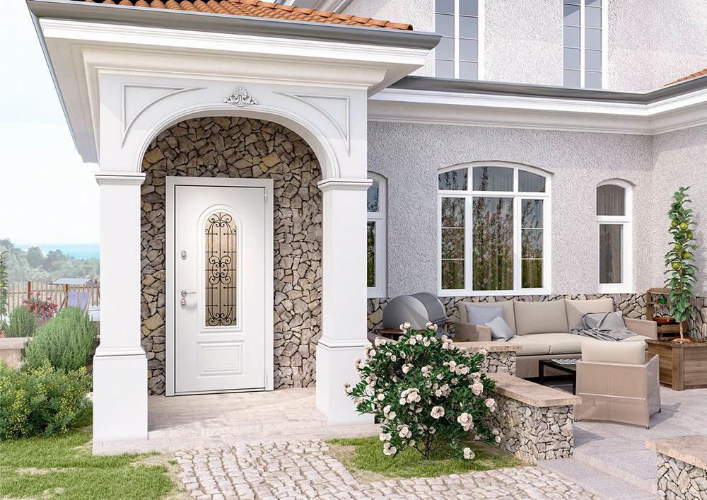 Входная дверь для дома Snegir Cottage с остеклением